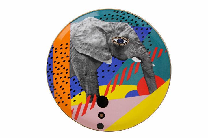 Porland Wild Life Elephant Düz Tabak 28cm