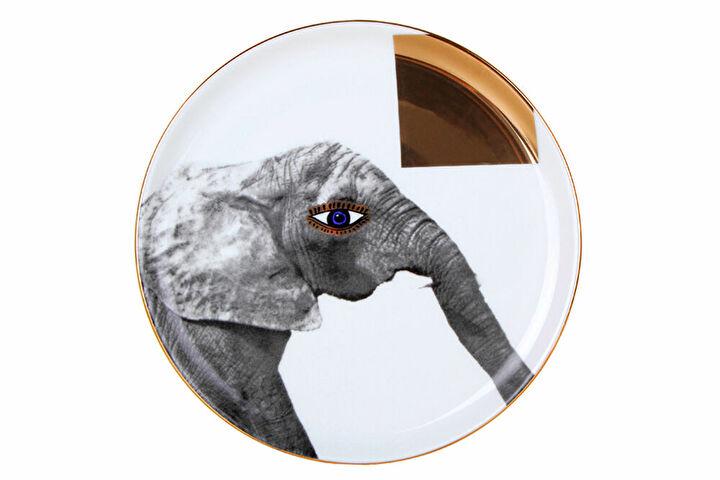 Porland Wild Life Elephant Düz Tabak 20cm